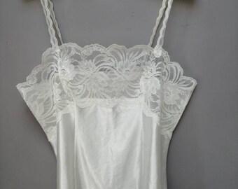 ce0814463cc White Lace Satin Camisole - Vintage