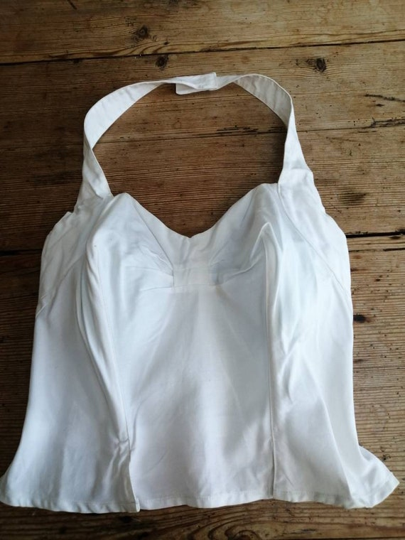 1950's White  Sun Top Halterneck. Prom Top/Teen To