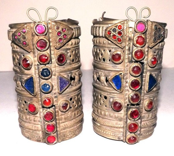 Pair Of Tall Classic Old Jewelled Kuchi Tribal Cuffs K with Jewel Like Coloured Glass Decoration ATS Tribal or Fusion Belly Dance Jewellery
