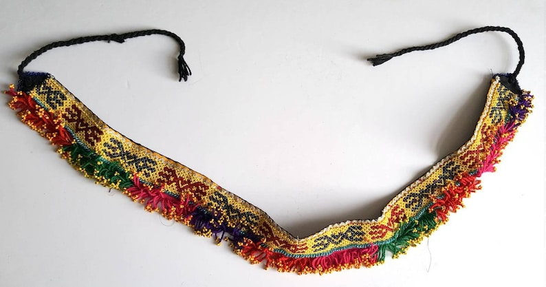 Colourful Hand Beaded Tribal Belly Dance Belt with Beaded Fringe Trim Tribal or Fusion Bellydance Costuming