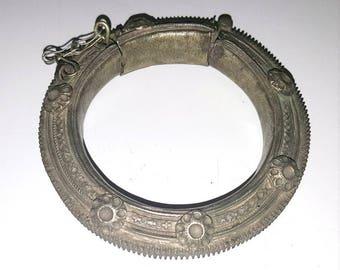 Rare Chunky Vintage Kuchi Tribal Gypsy Bellydance Hinged Cuff Bracelet: Afghani Belly Dance Jewellery