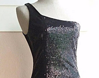 90s Black Body Con Dress - Black Sequin Dress - One Shoulder Evening Dress Party Dress - XS