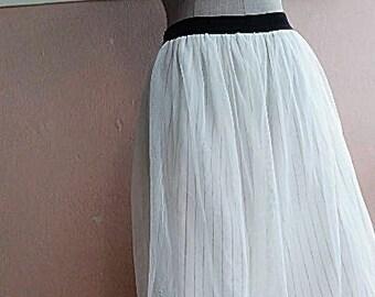 3f44b3fcb Minimalist White Skirt - S - M - 90s Net Tulle Mesh Skirt - White Pinstripe  Party Skirt - Minimalist Skirt - 25