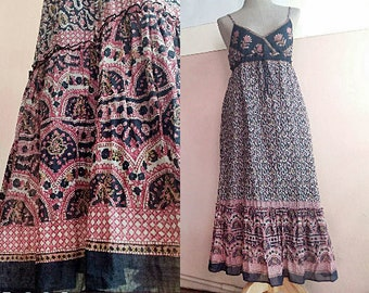 451e70888c0 S - 70s Indian Cotton Gauze Dress - Maxi Festival - Boho - Hippie - Gypsy -  Ethnic - Paisley Print Dress  SustainableMe