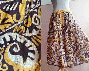90s Batik Skirt - Ethnic Tribal Skirt - Authentic Batik Ethnic Print Skirt  - Lightweight Cotton Skirt - 27