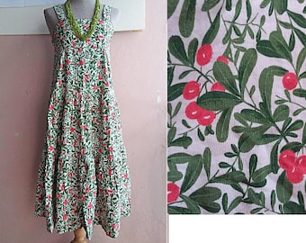 cb52da06be 90s Strap Dress - Cotton Summer Sun Dress - Cherry Print - Small