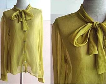 0f9a668568fe92 90s DKNY Silk Blouse - Pussy Bow Blouse - Designer Silk Shirt Blouse -  Sheer Lemon Green Chartreuse Blouse Size 8