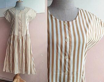 d024e7285f9 S - M - 70s Day Dress - Gold Yellow White Pinstripe Cotton Dress - Vintage  Retro Tea Length Dress