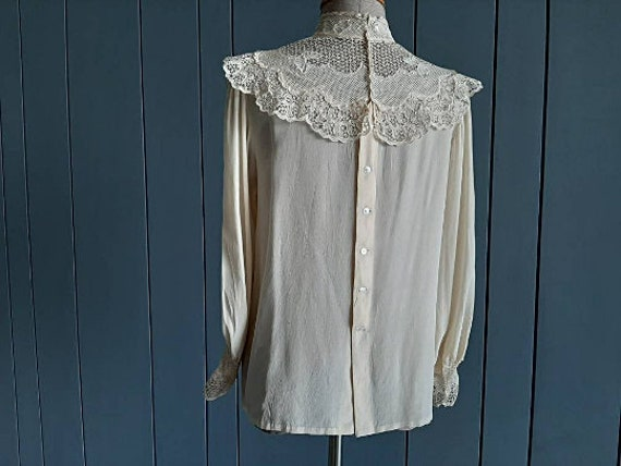 Victorian Silk Blouse Vintage Silk Blouse - Ivory… - image 4