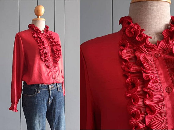 70s - 80s Long Sleeved Ruffle Blouse - Red Retro … - image 4