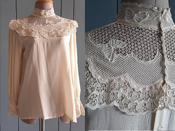 Victorian Silk Blouse Vintage Silk Blouse - Ivory… - image 1
