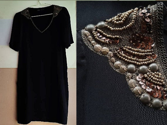 S - Little Black Cocktail Dress - Black Silk Dress