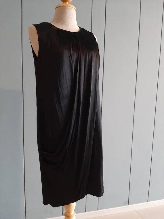 S - Little Black Cocktail Dress - Black Drape Dre… - image 4