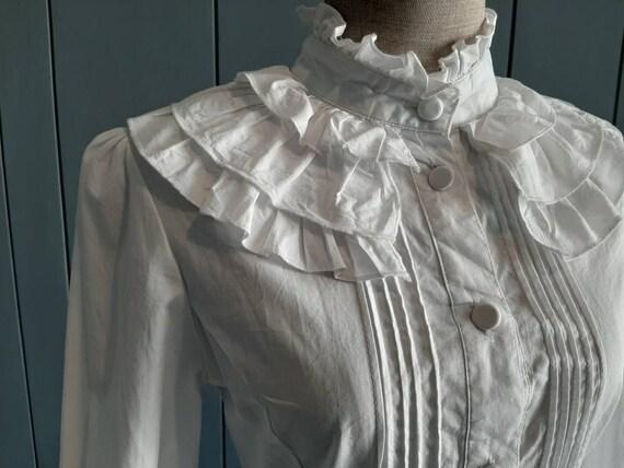 S - Vintage White Cotton Shirt - Victorian Ruffle… - image 6