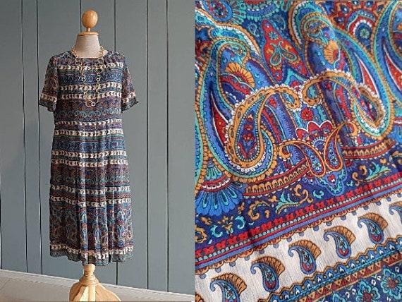 M - 70s Summer Chiffon Dress - Boho Paisley Dress