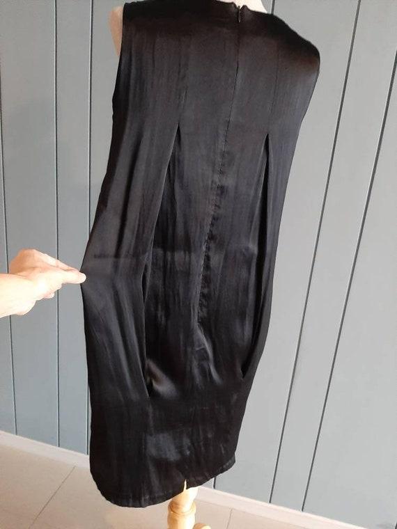 S - Little Black Cocktail Dress - Black Drape Dre… - image 6