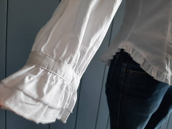 S - Vintage White Cotton Shirt - Victorian Ruffle… - image 8