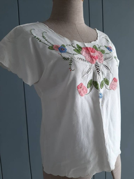 Vintage White Cotton Blouse - Handembroidery Cutw… - image 3
