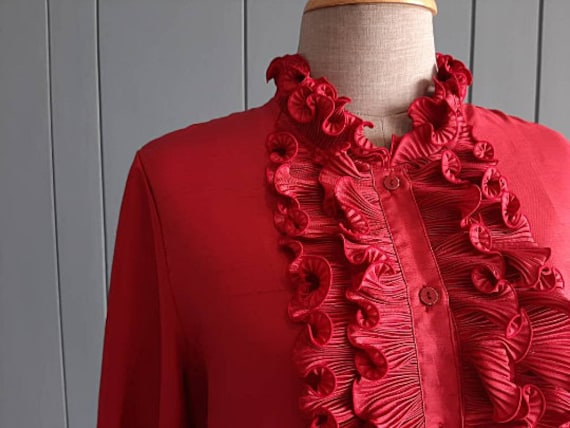 70s - 80s Long Sleeved Ruffle Blouse - Red Retro … - image 2