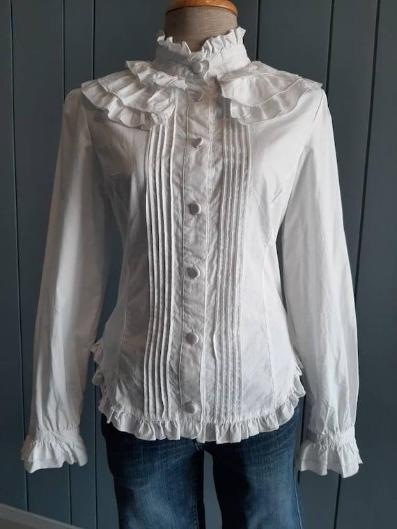 S - Vintage White Cotton Shirt - Victorian Ruffle… - image 7