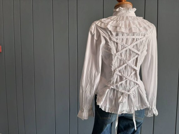 S - Vintage White Cotton Shirt - Victorian Ruffle