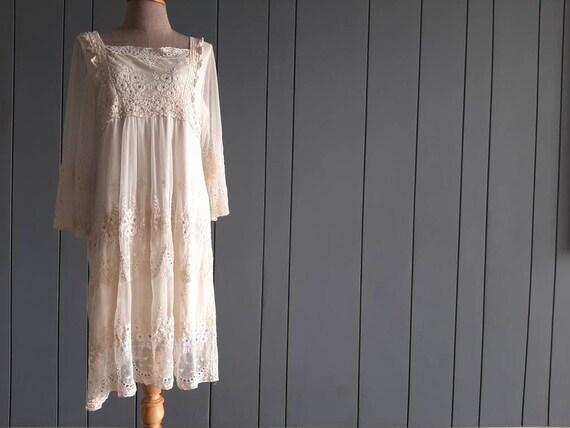 M - 90s Ivory Lace Dress - Net Tulle Dress Mesh Dr