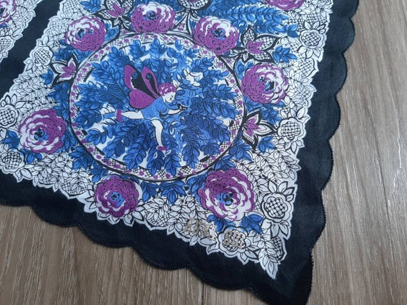 ANNA SUI Vintage Handkerchief - Cotton Floral Pri… - image 1