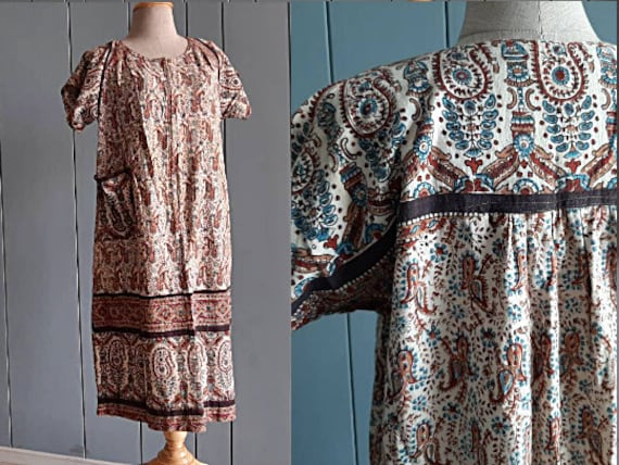 M - 70s Indian Cotton Dress - Paisley Block Print
