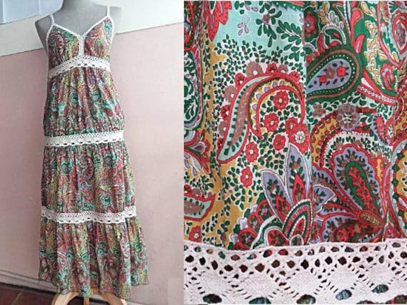 S - Boho Hippie Cotton Midi Dress - Hippie Cotton