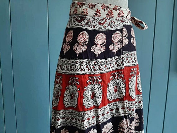 Free Size Gypsy Cotton Skirt Free Shipping Indian Paisely Block Print Blue Green Skirt Boho Indian Cotton Skirt Hippie