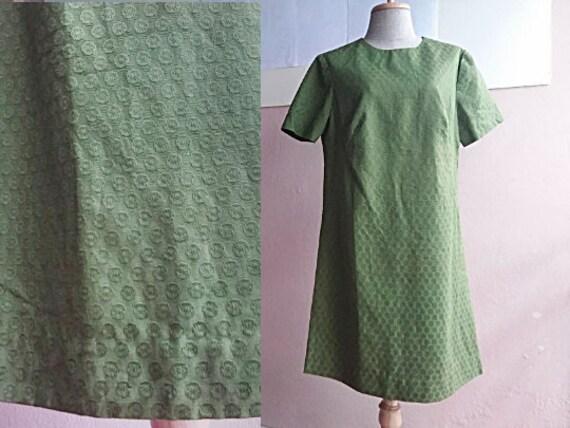M - L - 60s Mod Mini Dress - Green Cotton Dress -
