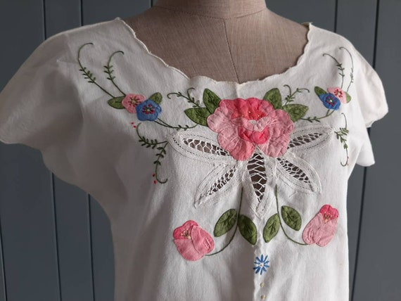 Vintage White Cotton Blouse - Handembroidery Cutw… - image 2