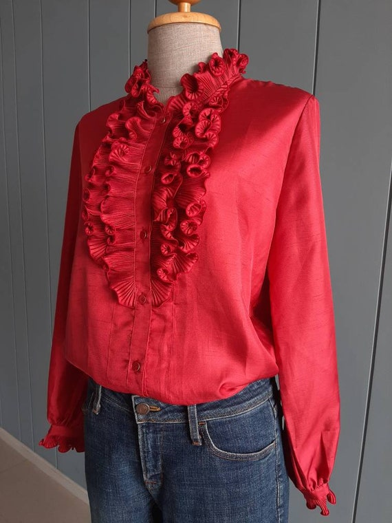 70s - 80s Long Sleeved Ruffle Blouse - Red Retro … - image 6