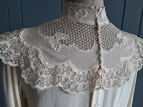 Victorian Silk Blouse Vintage Silk Blouse - Ivory… - image 5