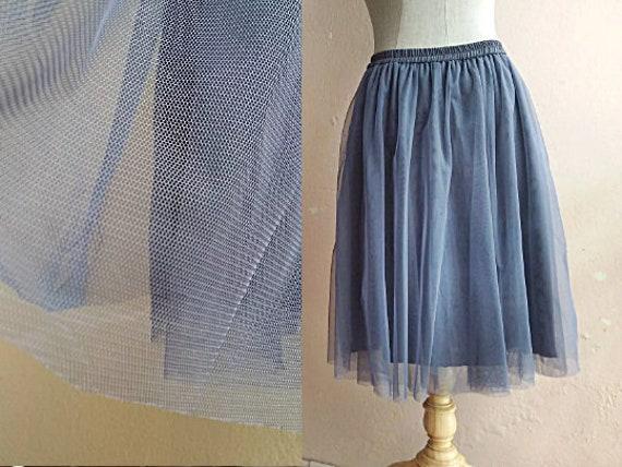 S - M - 90s Net Tulle Mesh Skirt - Grey Party Skir