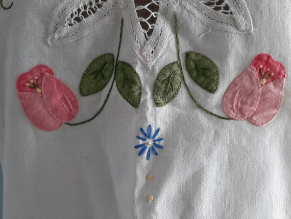 Vintage White Cotton Blouse - Handembroidery Cutw… - image 5