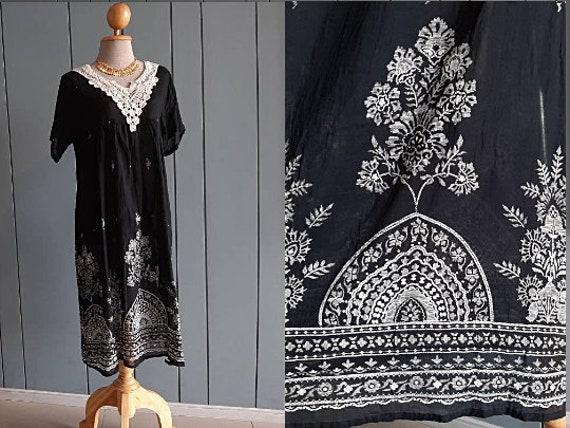 M - Hippie Paisley Dress - Indian Cotton Gauze - B