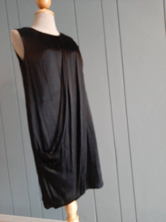 S - Little Black Cocktail Dress - Black Drape Dre… - image 5
