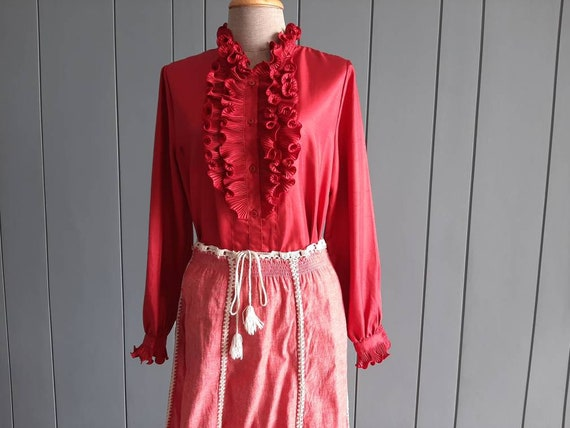 70s - 80s Long Sleeved Ruffle Blouse - Red Retro … - image 3