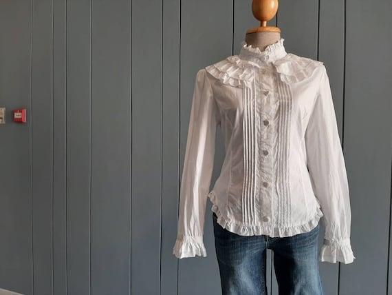 S - Vintage White Cotton Shirt - Victorian Ruffle… - image 5