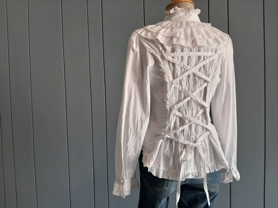 S - Vintage White Cotton Shirt - Victorian Ruffle… - image 3