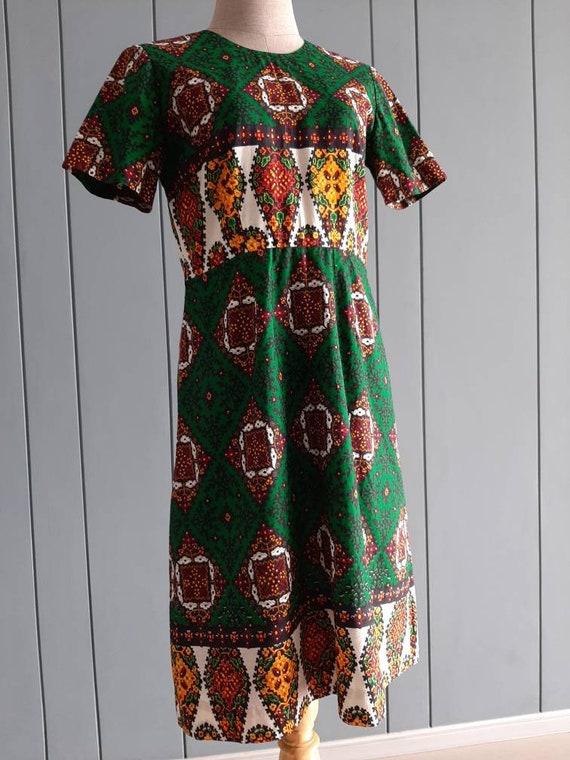 27 Waist 70s Retro Cotton Dress Day Dress Cotton Maximalist Dress S Green Orange Dress