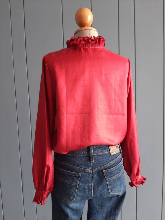 70s - 80s Long Sleeved Ruffle Blouse - Red Retro … - image 9