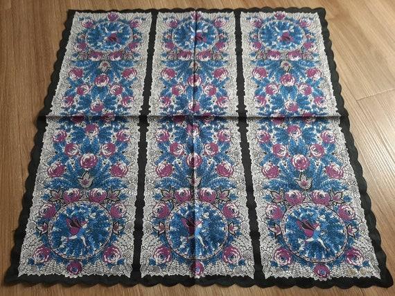ANNA SUI Vintage Handkerchief - Cotton Floral Pri… - image 4