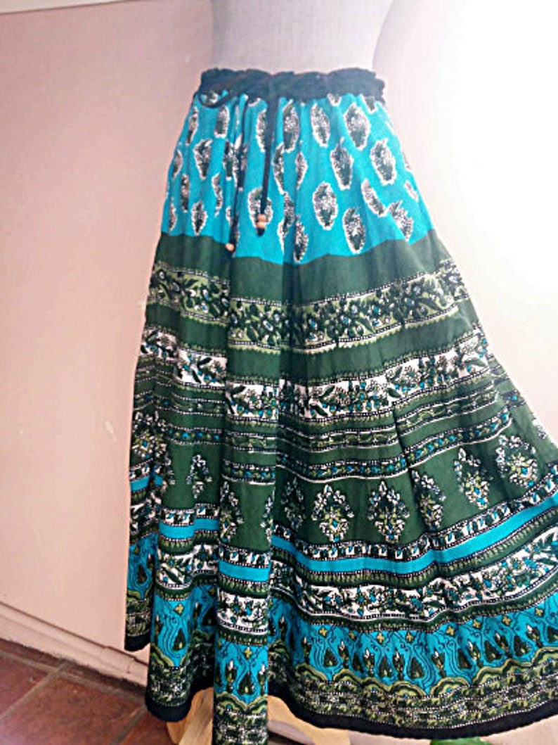 Indian Paisely Block Print Blue Green Skirt Free Size Free Shipping Gypsy Cotton Skirt Hippie Boho Indian Cotton Skirt