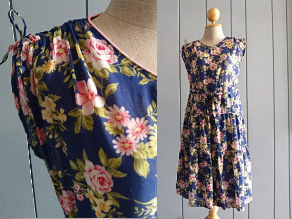 RetroTheory - S - 90s Vintage Floral Dress - Summe
