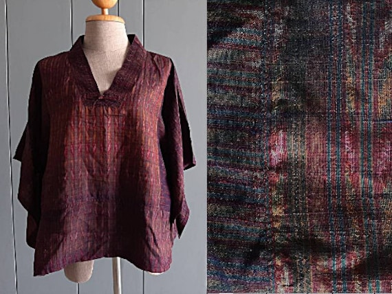 L - XL - 90s Silk Blouse Top - Ikat Thai Silk Wome