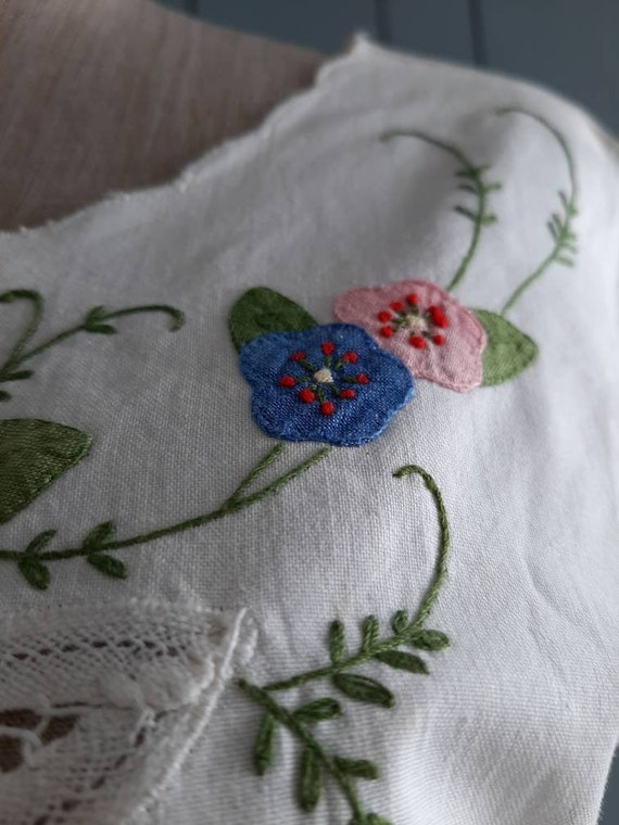 Vintage White Cotton Blouse - Handembroidery Cutw… - image 7