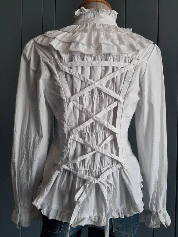 S - Vintage White Cotton Shirt - Victorian Ruffle… - image 4
