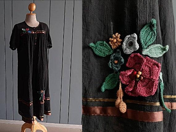 S - M - 90s Cotton Floral Dress - Cotton Summer Dr